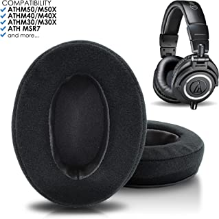 Hybrid Velour ATH M50x Earpads by Wicked Cushions - Compatible with Audio Technica M50 / M40X / M40 / Turtle Beach/HyperX/Sennheiser & More | Velour