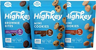 HighKey Keto Food Low Carb Snack Cookies Variety Pack - Chocolate Chip, Brownie Bites & Snickerdoodle - 3 Pack - Gluten Fr...