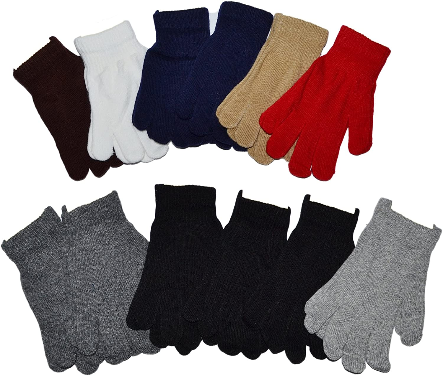 OPT. SEAL limited product Wholesale Outlet SALE Lot 12 Pairs Adult Plain Solid Knit Magic Gloves