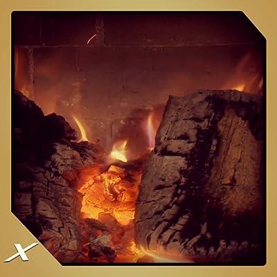 White Log Fireplace