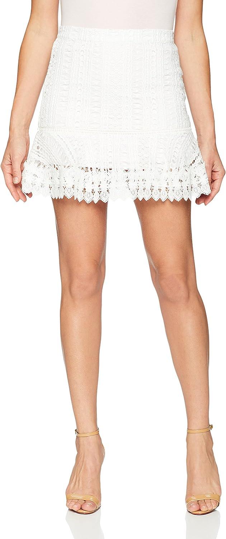 BB Dakota Womens Lucine Lace Ruffle Skirt Skirt