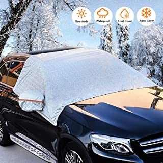 Nomiou Universal Fit Windshield Snow Cover for Cars,Compact and Mid-Size SUVs,Anti-Theft Tuck-in Flaps,Cotton Lined PEVA Fabric with Aluminum Foil Lamination,Sunshade,Weatherproof, Mirror Covers