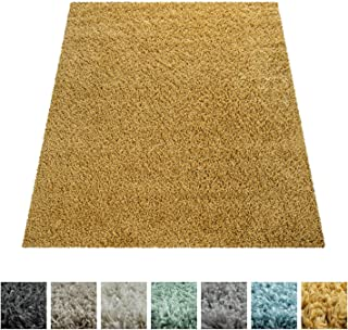 Alfombra De Pelo Largo, Shaggy para Salón, Suave Mullida Duradera Resistente, tamaño:160x220 cm, Color:Amarillo