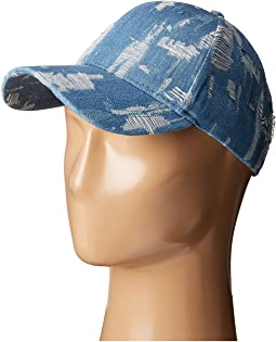 Steve Madden - Denim Distressed Baseball Cap