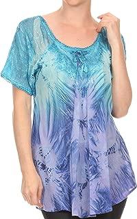 Sakkas Taylay Ombre Tie Dye Batik Long Embroidered Corset Neck Blouse Shirt Top