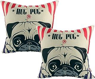 Luxbon 2 Funda Cojin Almohada Perro Carlino Hug Pug Decoración para Sofá Cama Coche 45x45 cm