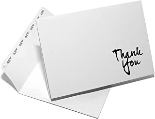 """pretty. simple. cards. """"Thank You Cards"""": 12 Cards on Crisp White Heavy Linen Cardstock and Self Sealing Envelopes (Professional Stationery, Note Cards, Wedding) (Black Script)"""