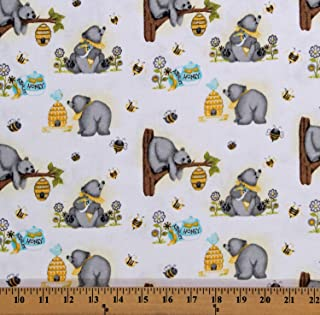 Flannel Bears Honey Bees Beehives Cute Kids Animals on White Cotton Flannel Fabric Print by The Yard (D279.36)