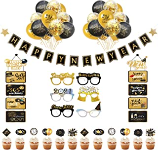 PRATYUS 2021 New Years Eve Party Decorations With Happy Year Banner, Welcome Hanger, New Year Eyeglasses and Cake Topper F...