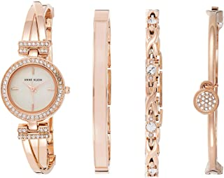 Women's Swarovski Crystal-Accented Rose Gold-Tone Watch and Bracelet Set, AK/2238RGST