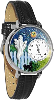 Whimsical Watches Halloween Ghost Black Skin Leather and Silvertone Unisex Quartz Watch with White Dial Analogue Display a...
