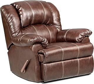 Roundhill Furniture Brandan Bonded Leather Dual Rocker Recliner Chair, Oversize, Brown