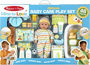 Melissa & Doug Mine to Love Deluxe Baby Care Play Set (48 Pieces – Doll + Accessories to Feed, Bathe, Change, and Cuddle, Great Gift for Girls and Boys - Best for 3, 4, 5, and 6 Year Olds)
