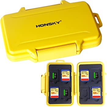 SD Card Holder, Honsky Waterproof Memory Card Holder Case for SD Cards, Micro SD Cards, SDHC SDXC, Yellow