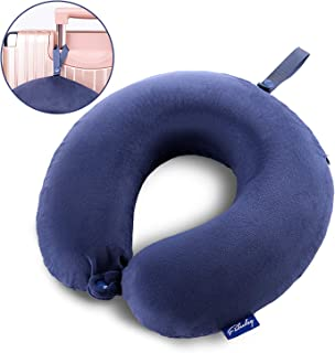Fabuday Travel Pillow Memory Foam, Head Neck Support Pillow for Airplane, Car, Office, with Attachable Snap Strap Soft Washable Cover