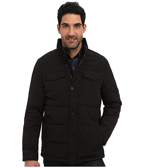 Perry Ellis Mens Quilted Four Pocket Jacket EP822679 Black - Coats & Outerwear