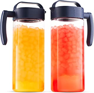 Komax Set of 2 Plastic Pitcher with lid | 2.1-quart / 67.2-oz Tritan Plastic Water Pitchers | Hot & Cold Drink Pitcher | Juice, Lemonade, Sangria, Milk, and Iced Tea Pitcher | BPA Free & Spill-proof