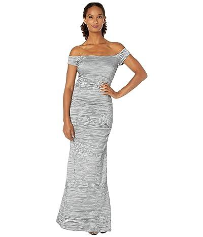 Alex Evenings Long Off-the-Shoulder Stretch Taffeta Dress with Fishtail Skirt (Platinum) Women
