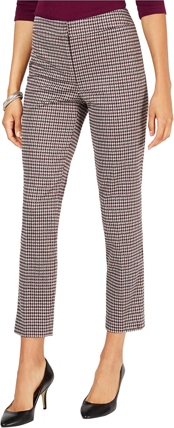 NINE WEST Womens Houndstooth Casual Trouser Pants, Red, 16