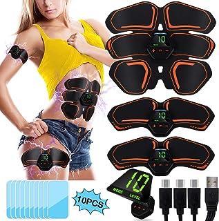 POOTACK EMS Electroestimulador Muscular Abdominales Cinturón con Pantalla LCD, USB Recargable, 10 Modos, 20 Niveles Diferentes y 10 Piezas de Almohadillas de Gel para Abdomen/Cintura/Pierna/Brazo