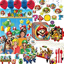 Mega Super Mario Birthday Party Supplies and Decoration Pack For 16 With Mario Plates, Napkins, Cups, Tablecover, Cutlery Balloons, Swirls, Candles, Scene Setter and Photo Props, Cutouts, and Pin