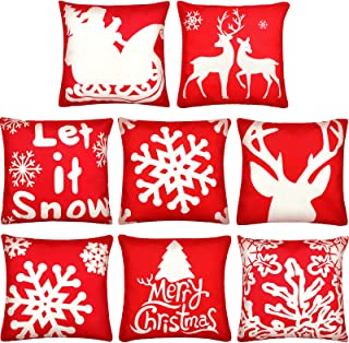 Boao 8 Pieces Christmas Pillow Covers Red Linen Throw Pillow Cases with Christmas Tree Reindeer Sledge Snowflake Design fo...