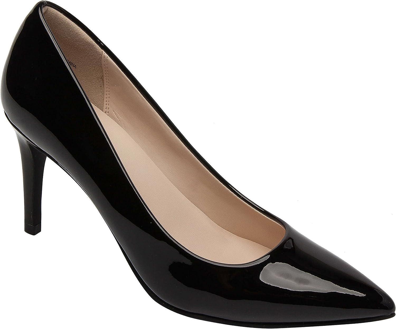 Lilian   Women's Comfortable Pointy Toe High Heel Stiletto Pump Vegan or Leather Black Vegan Patent 7.5M