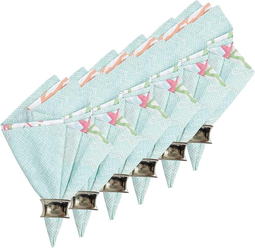 Atlantis Reversible Cotton Napkin Set Of 6 20x20