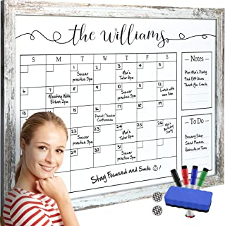 $49 » Framed Dry Erase Calendar - Whiteboard Calendar with 4 Markers and Eraser - Magnetic White Board Wall Calendar for Office - Multipurpose Large Family Month Calendars - Big Whiteboard Planner Organizer
