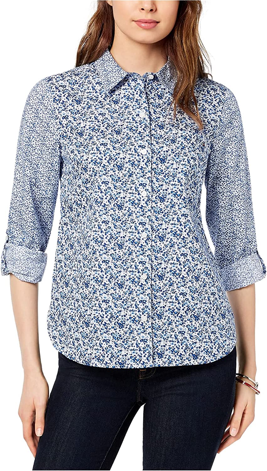 Tommy Hilfiger Womens Printed Roll Tab Button Up Shirt