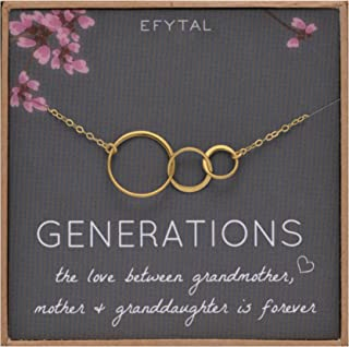 Generations Necklace for Grandma, Goldtone 3 Interlocking Infinity Circles for Mom & Granddaughter, Mothers Day Jewelry Birthday Gift