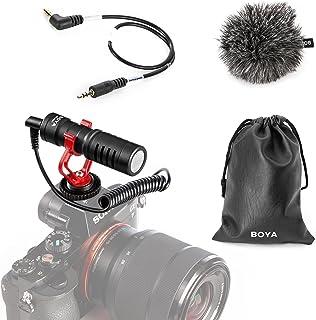BOYA Video Micrófono Youtube Vlogging Facebook Livestream Grabación Shotgun Mic para iPhone HuaWei Smartphone DJI Osmo Mobile 2, para ZHIYUN Smooth Q Smooth 4 Feiyu Vimble Canon Sony DSLR Cameras