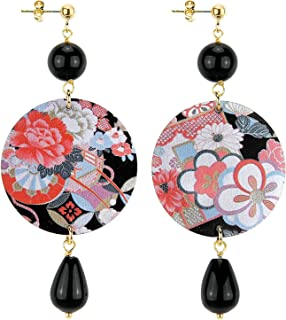 IN Lebole Collezione The Circle DOR05 Fiori Rosa e Bianchi Orecchini da Donna in Ottone Pietra Nera
