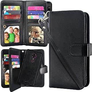 Harryshell T-Mobile REVVL Plus Case, Luxury 12 Card Slots Detachable Magnetic Wallet Shockproof PU Leather Flip Protective Case with Wrist Strap for REVVL Plus 3701A (Black)