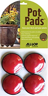 Allsop Home and Garden Pot Pads, Deck and Patio Protection with 3,000 lbs rating, discreet non-skid planter pad lifters/risers/feet/toes, (Cherry, Set of four, 1-Count)