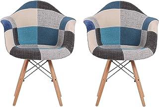 N/A Sillas de Comedor, sillas de Cocina, sillas de salón, con Respaldo y reposabrazos, de Lino sólido, Multicolor, Juego de 2