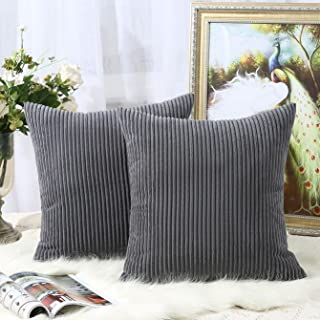 Miaote Pack of 2 Decorative Throw Pillow Covers Cases for Couch Bed Sofa,Striped Corduroy Velvet Cushion Covers for Baby, 20 X 20 Inches,Dark Grey