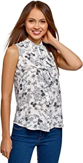 oodji Collection Women's Flounce Collar Flowing Top