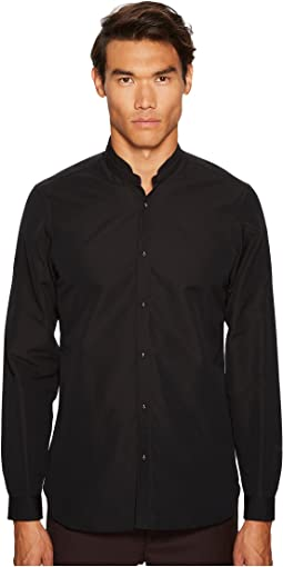 The Kooples - Single-Colour Shirt with Officer Collar and Skull Push Buttons