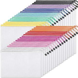 EOOUT Plastic Mesh Zipper Pouch Document Bag, 36pcs Plastic Zip File Folders in 11 Colors, Letter Size/A4 Size, for School...