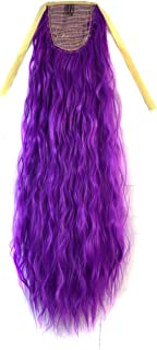 CXYP Corn Wave Curly Ponytail Extension 24 Inch Synthetic Drawstring Ponytail (purple)
