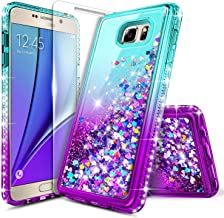 Galaxy Note 5 Case with Tempered Glass Screen Protector for Girls Kids Women, NageBee Glitter Liquid Sparkle Bling Floating Waterfall Shockproof Cute Case for Samsung Galaxy Note 5 -Aqua/Purple