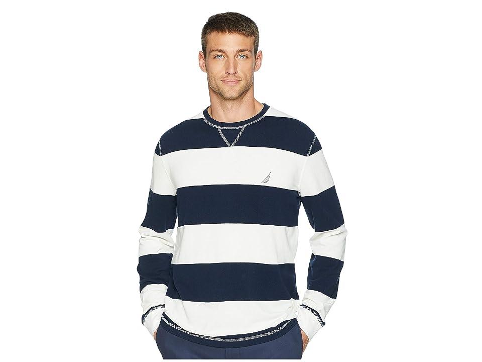 Nautica Long Sleeve Rugby Stripe Sweater (Marshmallow) Men