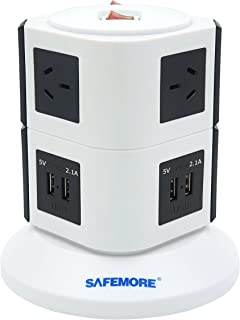 SAFEMORE Origin 2L+ White/Black - USB Power Strip 6-Outlet Charging Station with 4 Smart USB Ports and 2-Metres Power Cord