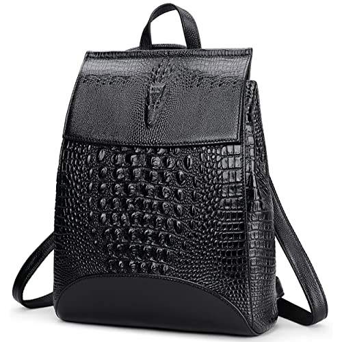 f9a4387a6c2a Coolcy New Fashion Casual Women Genuine Leather Backpack Shoulder Bag  (Black2)