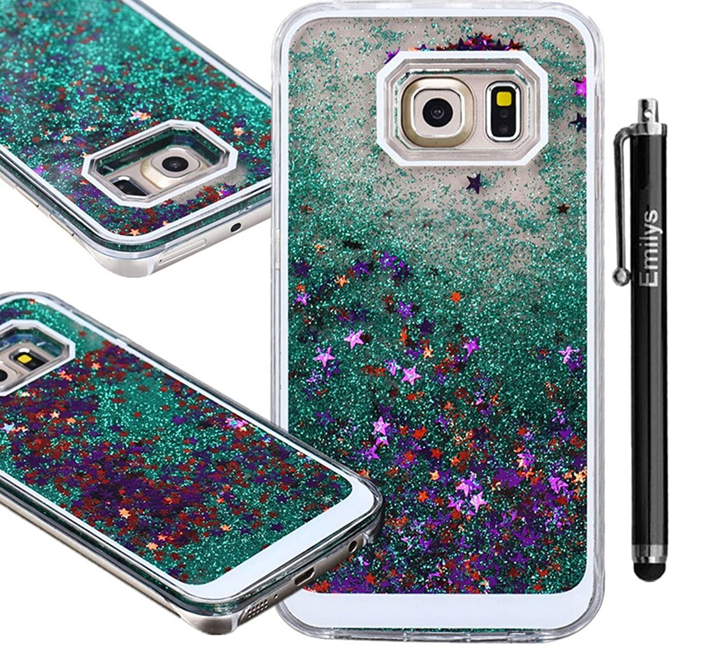Emilys S6 Case, Samsung Galaxy S6 case, fashion style New Glitter Quicksand liquid star dynamic clear bling case Cover for Samsung Galaxy S6 G920F(Green)