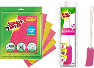 Scotch-Brite Sponge Wipe 5 Pcs Pack (Multipurpose) & Scotch-Brite Plastic Bottle Cleaner Brush (Pink and White)