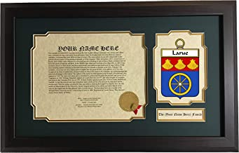 Larue - Coat of Arms and Last Name History, 14x22 Inches Matted and Framed