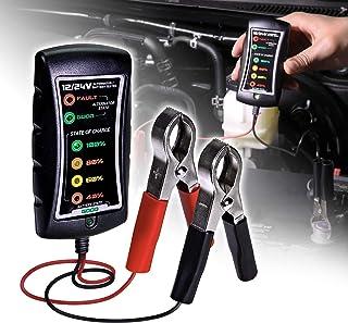 Testador de bateria automotivo 12/24 V CC [braçadeiras grandes] [visor LED] - Alternador/verificação de bateria/ferramenta...