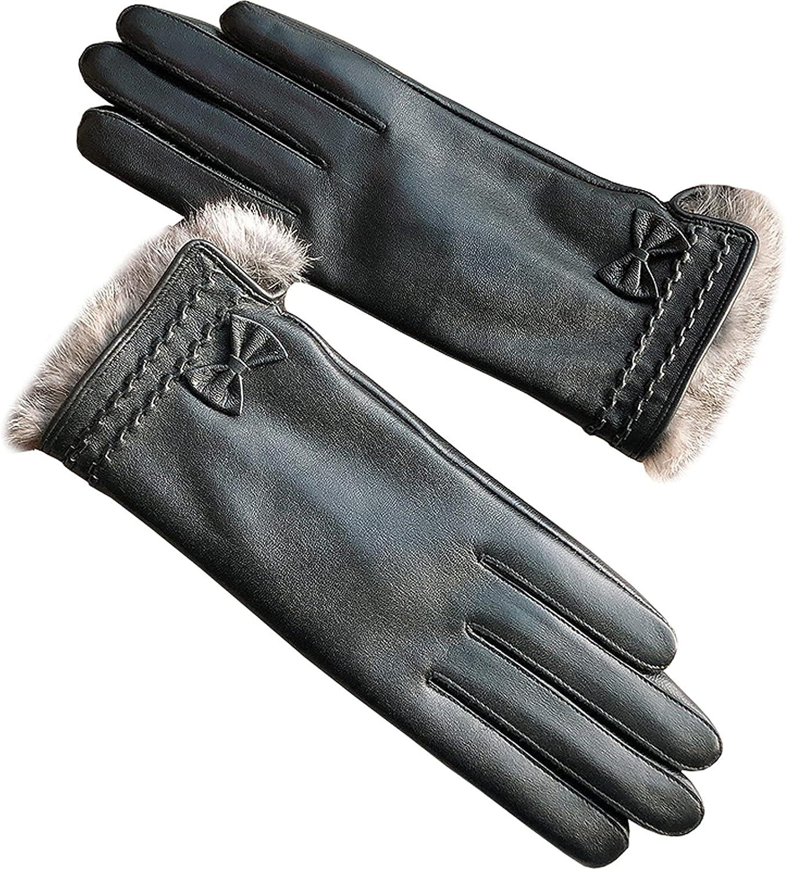 Jjshueryg Bowknot Rex Rabbit Fur Winte Fees OFFicial shop free Hand Gloves Ladies Repair